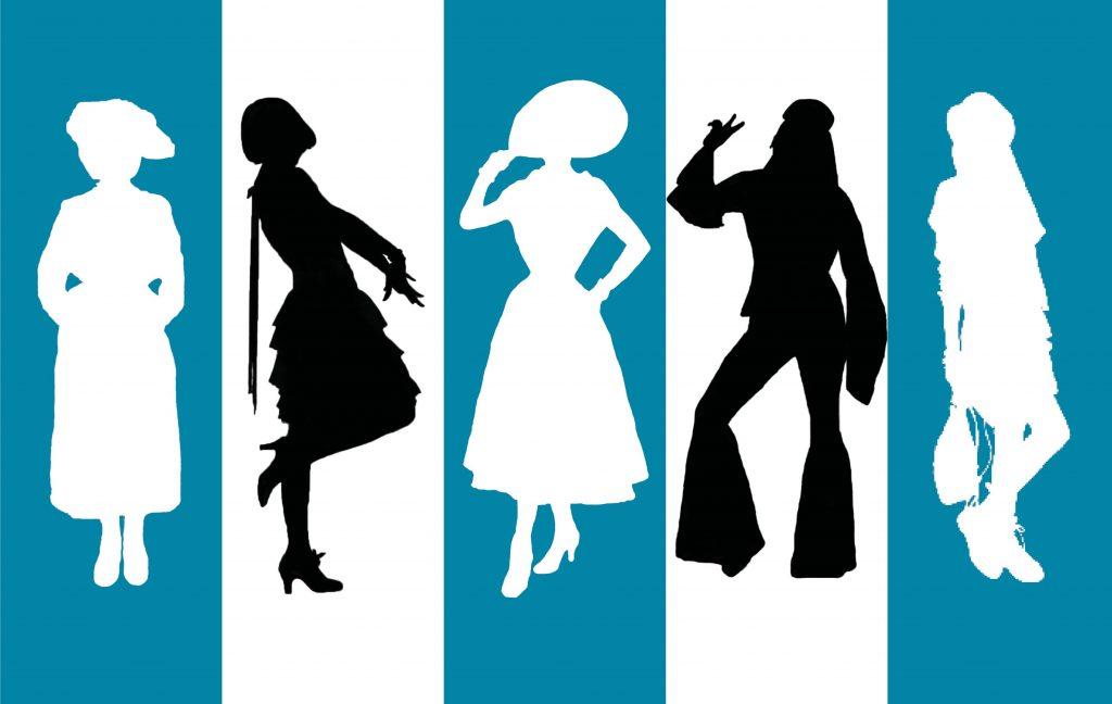 Viden om tiden, dansk mode, design og stil i det 20. århundrede, silhuetter af kvinder i 10'er-mode, 20'er-mode, 50'er-mode, 70'er-mode og 90'er-mode, tøj fra 1910, 1920, 1950, 1970 og 1990, museet Tidens Samling, museum for klæder, form og bolig i det 20. århundrede, Kulturmaskinen, Farvergården, Brandts Klædefabrik, Odense