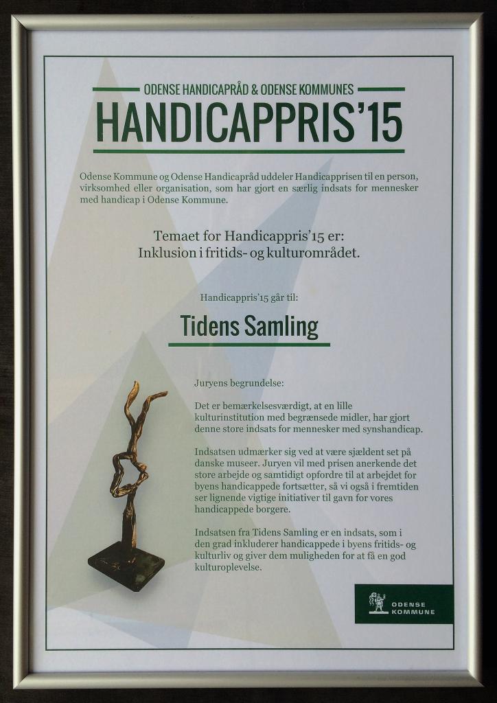 Tidens Samling, museum for blinde og svagsynede, Odense Handicappris 2015 for projektet mærk tiden - hør historien, audioguides, ledelinjer, Odense