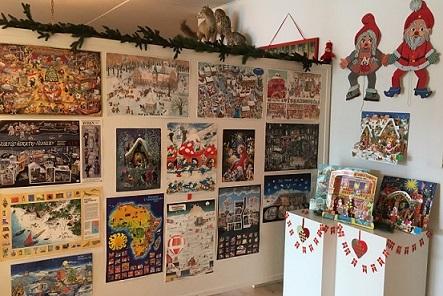 Lågejulekalendere, u-landskalender, papjulekalender, papirjulekalender, Tidens Samling, museum for klæder, form og bolig i det 20. århundrede, Odense