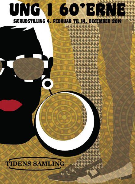 Særudstilling på museet Tidens Samling, Ung i 60'erne, udstillingsplakat, psykedelisk gult stof som baggrund, op art, røde læber, ørering, strømpebukser i sort-hvid, museum for klæder, form og bolig i det 20. århundrede, Kulturmaskinen, Farvergården, Brandts Klædefabrik, Odense
