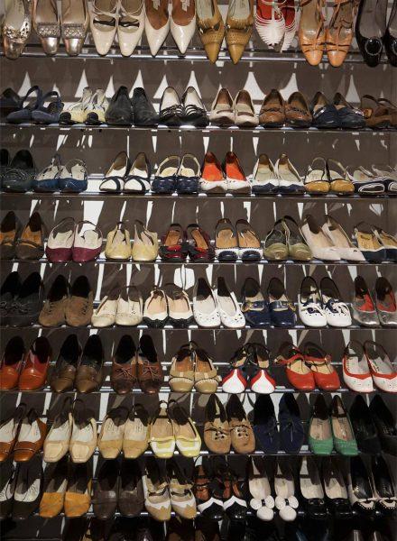 Skoreol, sko fra 60'erne i særudstillingen Ung i 60'erne, særudstilling 2019 på museet Tidens Samling, museum for klæder, form og bolig i det 20. århundrede, Kulturmaskinen, Farvergården, Brandts Klædefabrik, Odense